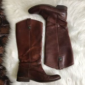 Frye Melissa Button Tall Brown Riding Boots 77167